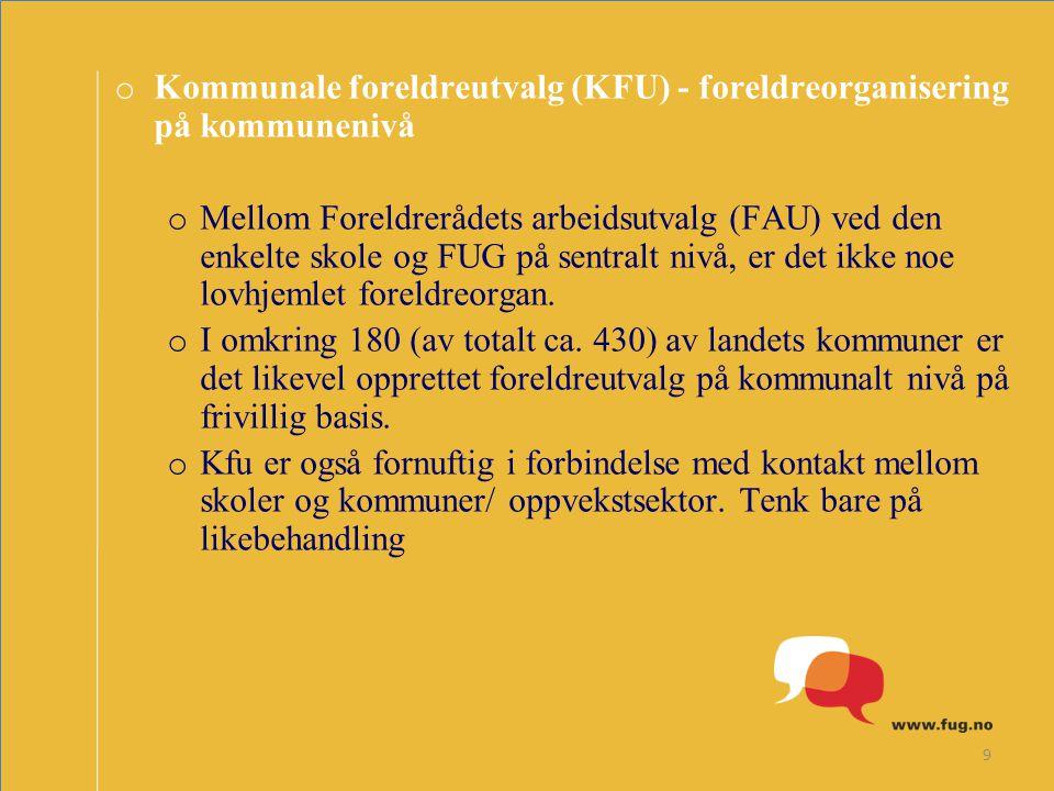 Kommunale foreldreutvalg (KFU) - foreldreorganisering på kommunenivå