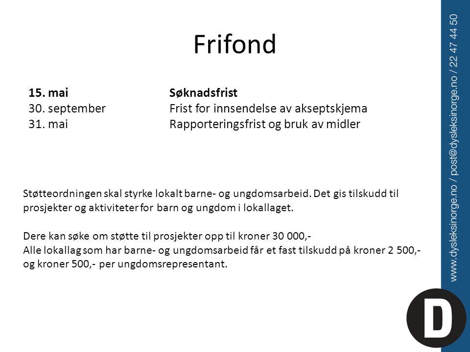 Frifond 15. mai Søknadsfrist 30. september Frist for innsendelse av akseptskjema 31. mai Rapporteringsfrist og bruk av midler.