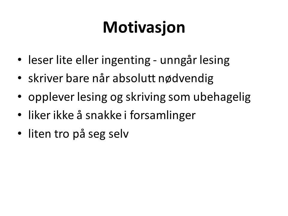 Motivasjon leser lite eller ingenting - unngår lesing