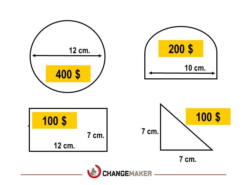 200 $ 12 cm. 10 cm. 400 $ 100 $ 100 $ 7 cm. 7 cm. 12 cm. 7 cm.