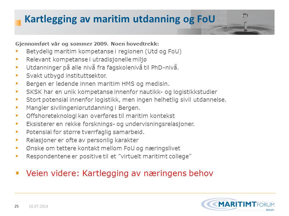 Kartlegging av maritim utdanning og FoU