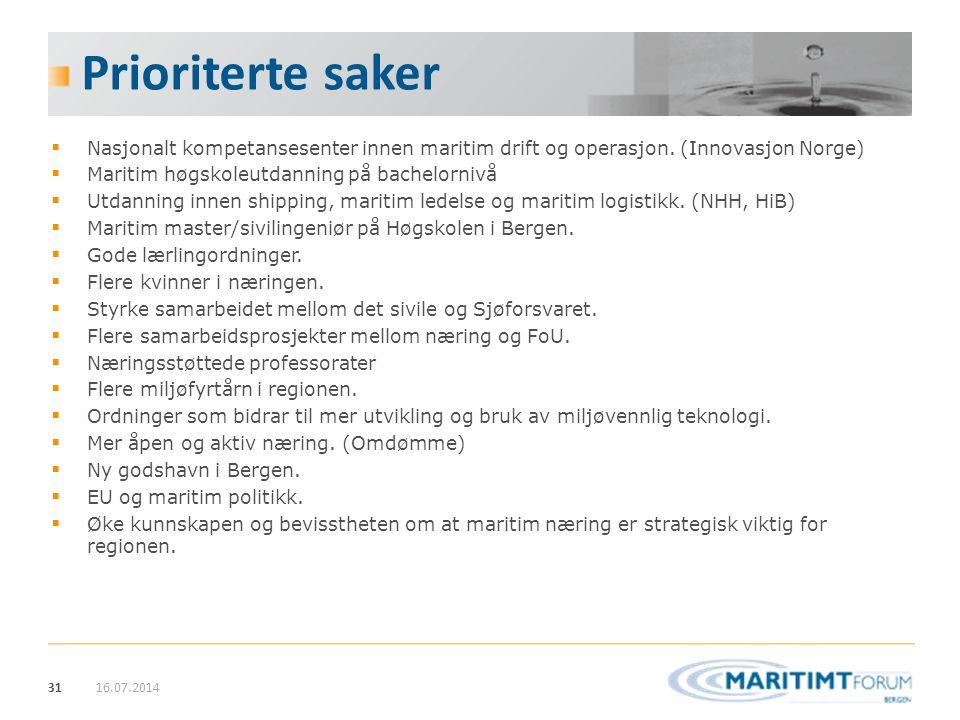 Prioriterte saker Nasjonalt kompetansesenter innen maritim drift og operasjon. (Innovasjon Norge) Maritim høgskoleutdanning på bachelornivå.