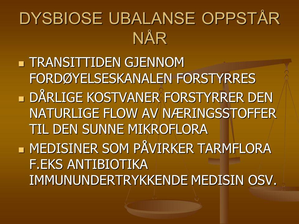 DYSBIOSE UBALANSE OPPSTÅR NÅR