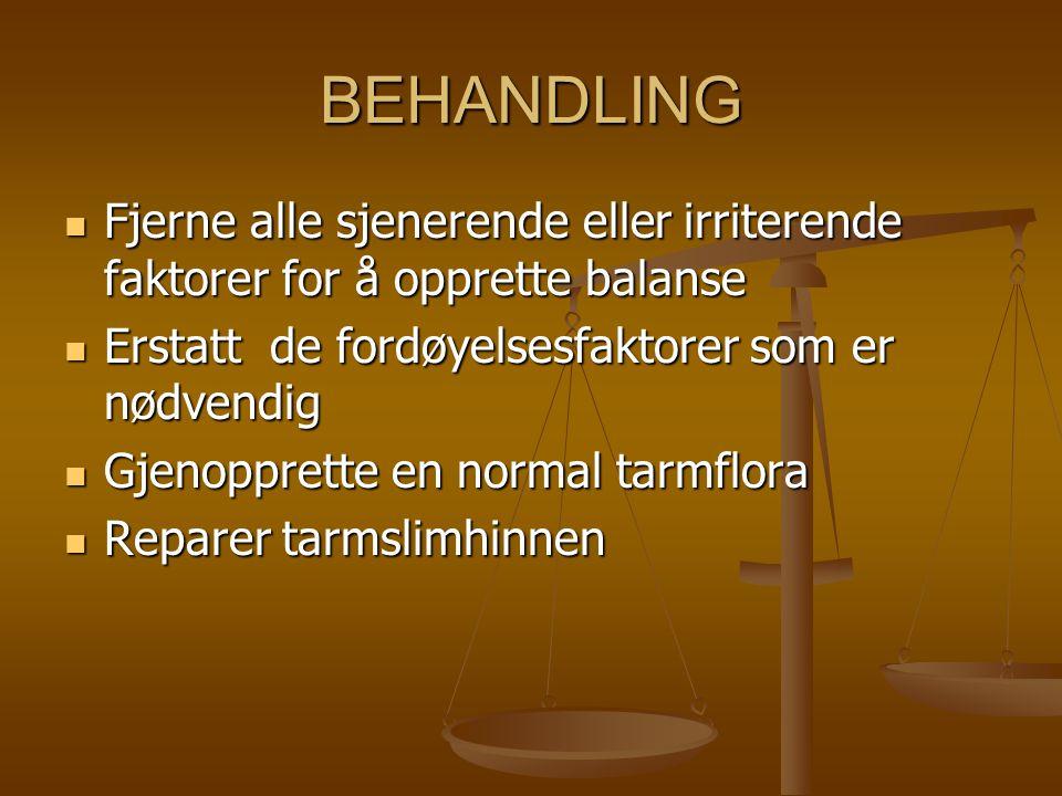 BEHANDLING Fjerne alle sjenerende eller irriterende faktorer for å opprette balanse. Erstatt de fordøyelsesfaktorer som er nødvendig.