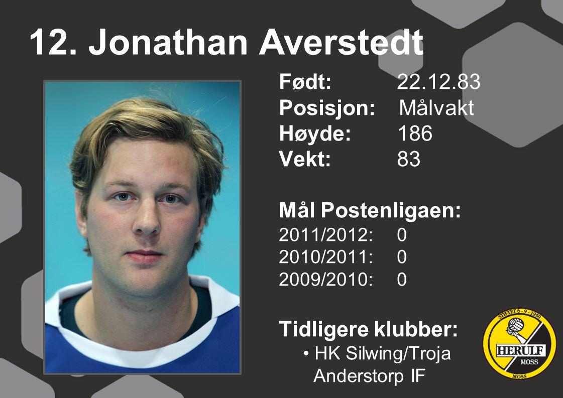12. Jonathan Averstedt Født: 22.12.83 Posisjon: Målvakt Høyde: 186