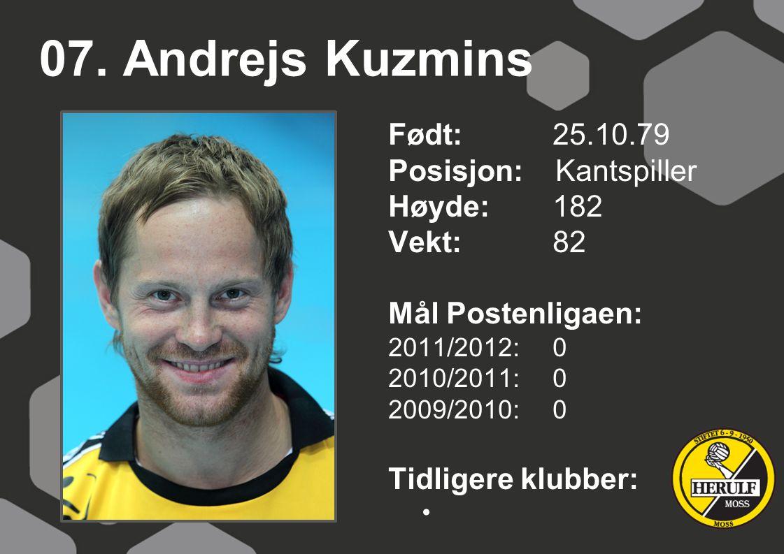07. Andrejs Kuzmins Født: 25.10.79 Posisjon: Kantspiller Høyde: 182