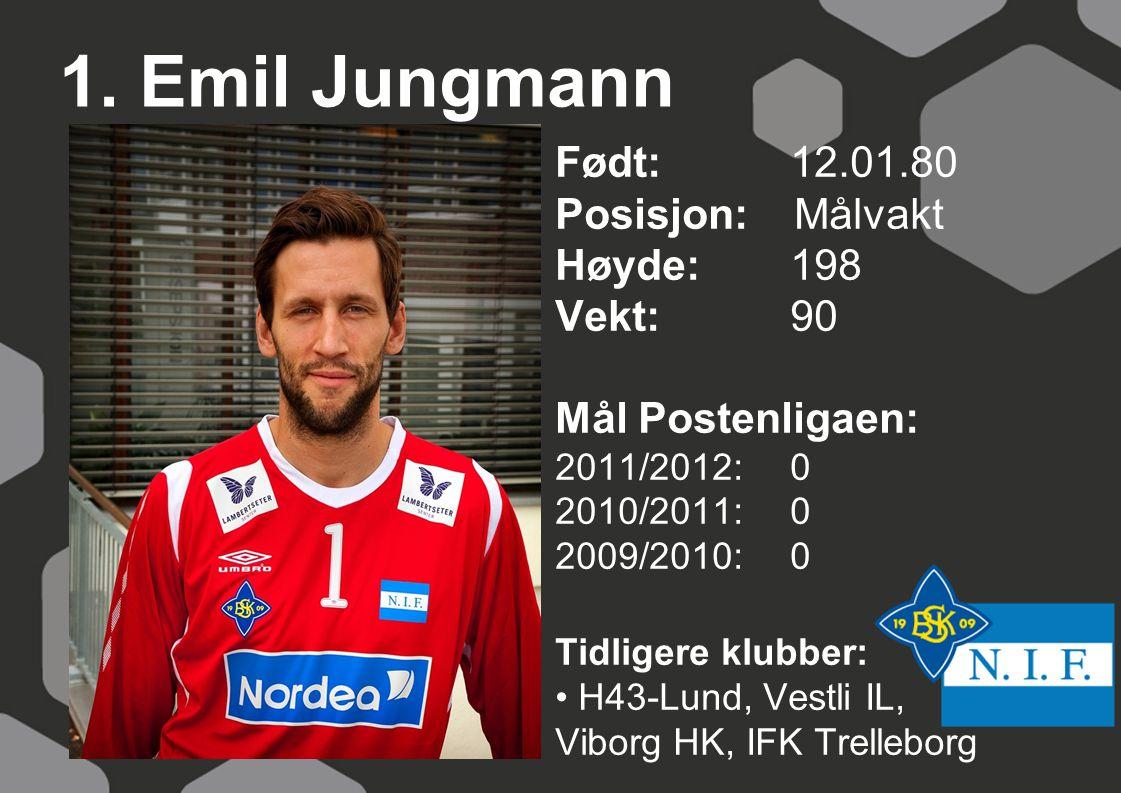 1. Emil Jungmann Født: 12.01.80 Posisjon: Målvakt Høyde: 198 Vekt: 90