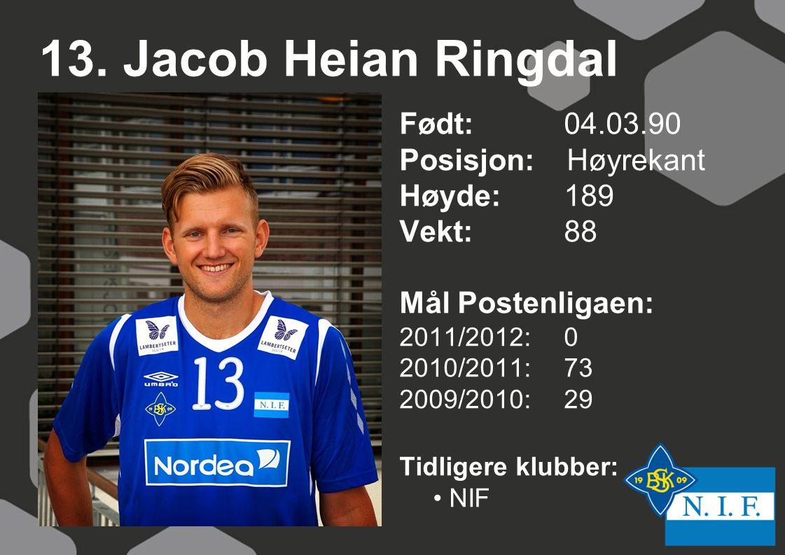 13. Jacob Heian Ringdal Født: 04.03.90 Posisjon: Høyrekant Høyde: 189