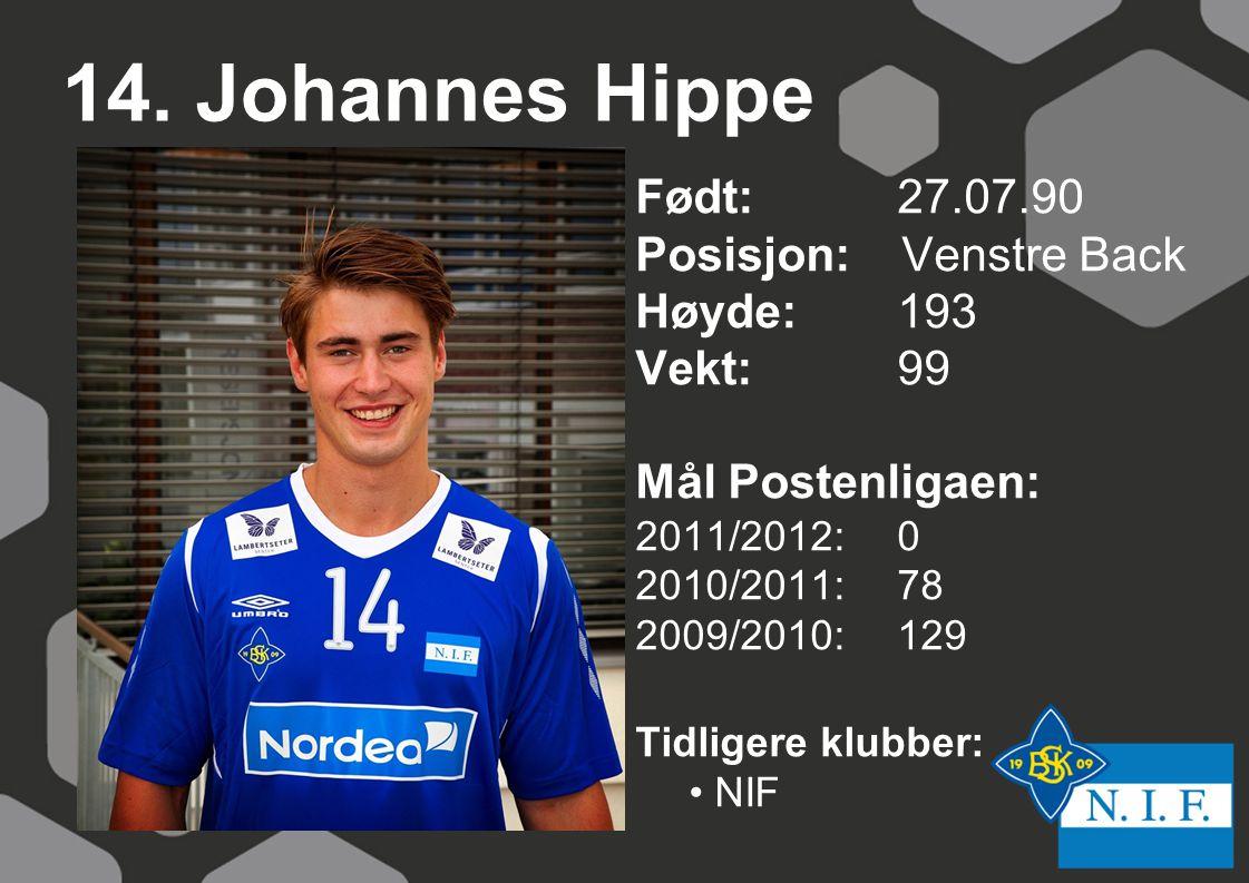 14. Johannes Hippe Født: 27.07.90 Posisjon: Venstre Back Høyde: 193