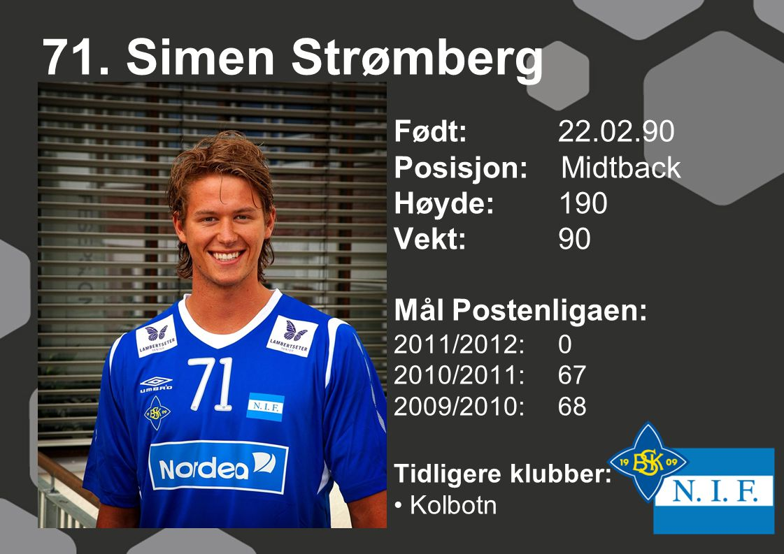 71. Simen Strømberg Født: 22.02.90 Posisjon: Midtback Høyde: 190