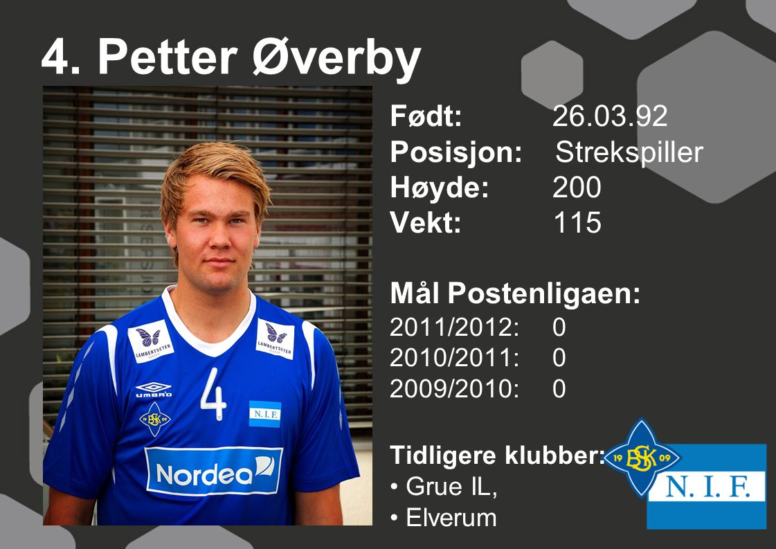 4. Petter Øverby Født: 26.03.92 Posisjon: Strekspiller Høyde: 200