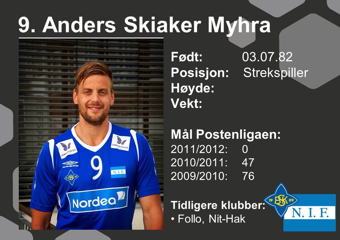 9. Anders Skiaker Myhra Født: 03.07.82 Posisjon: Strekspiller Høyde: