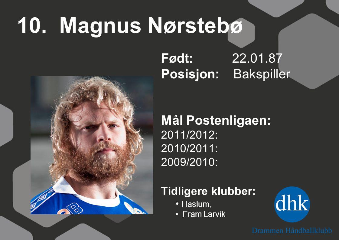 10. Magnus Nørstebø Født: 22.01.87 Posisjon: Bakspiller