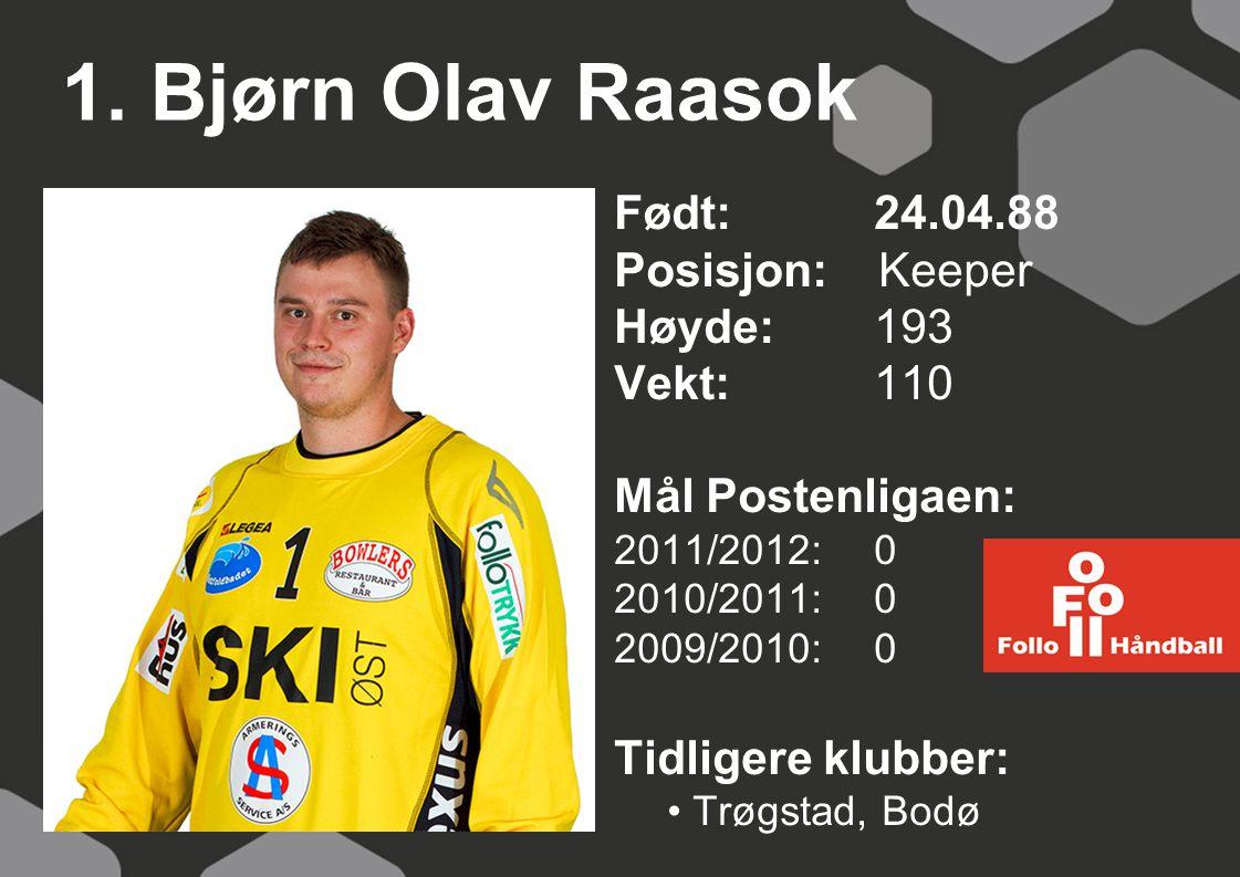 1. Bjørn Olav Raasok Født: 24.04.88 Posisjon: Keeper Høyde: 193
