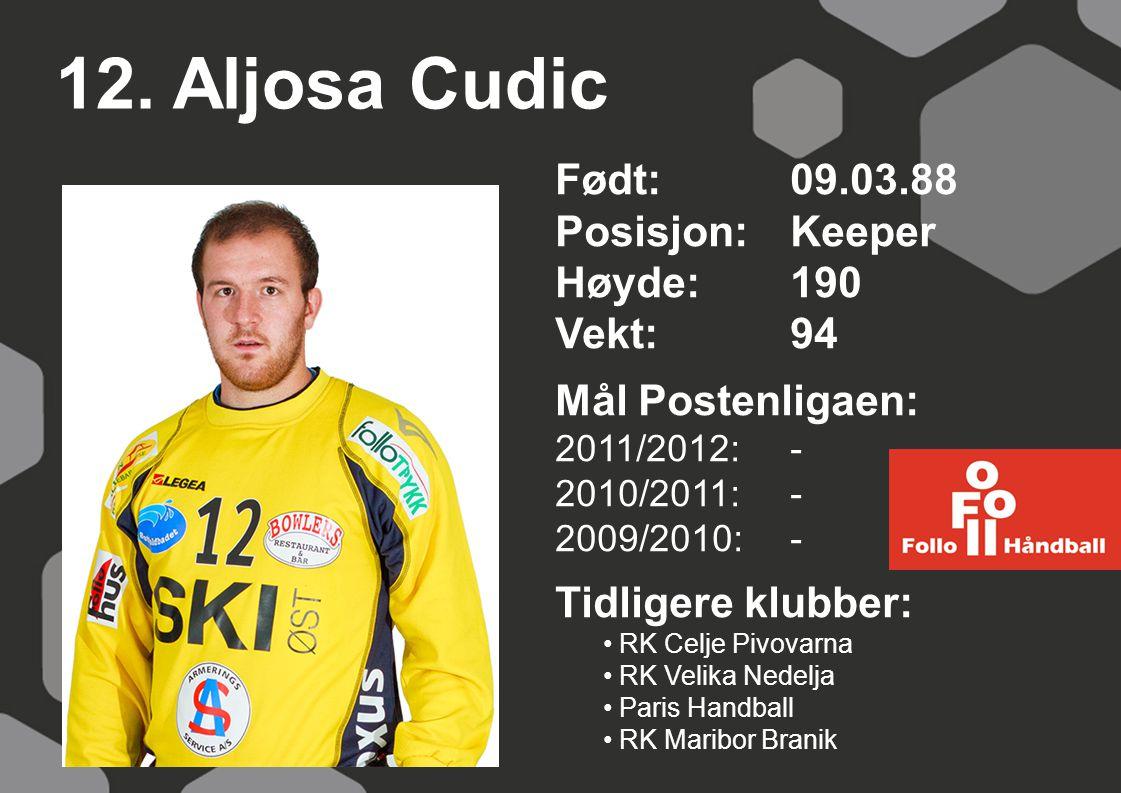 12. Aljosa Cudic Født: 09.03.88 Posisjon: Keeper Høyde: 190 Vekt: 94