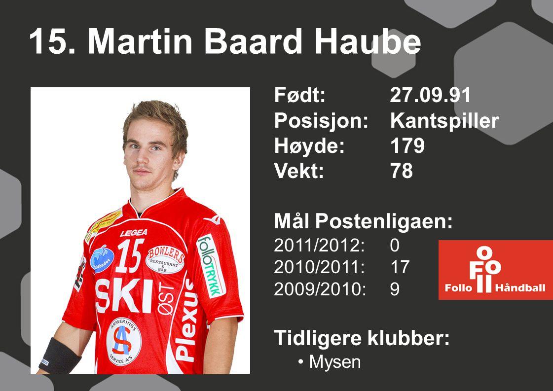 15. Martin Baard Haube Født: 27.09.91 Posisjon: Kantspiller Høyde: 179