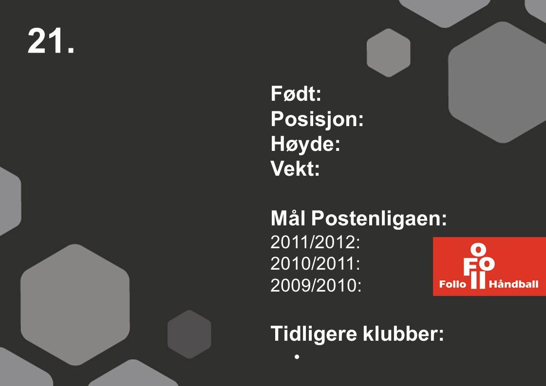 21. Født: Posisjon: Høyde: Vekt: Mål Postenligaen: Tidligere klubber: