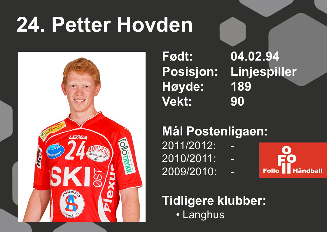 24. Petter Hovden Født: 04.02.94 Posisjon: Linjespiller Høyde: 189