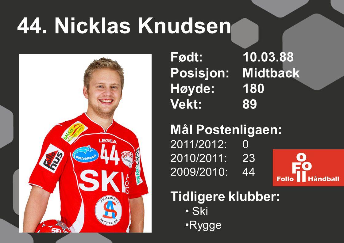 44. Nicklas Knudsen Født: 10.03.88 Posisjon: Midtback Høyde: 180