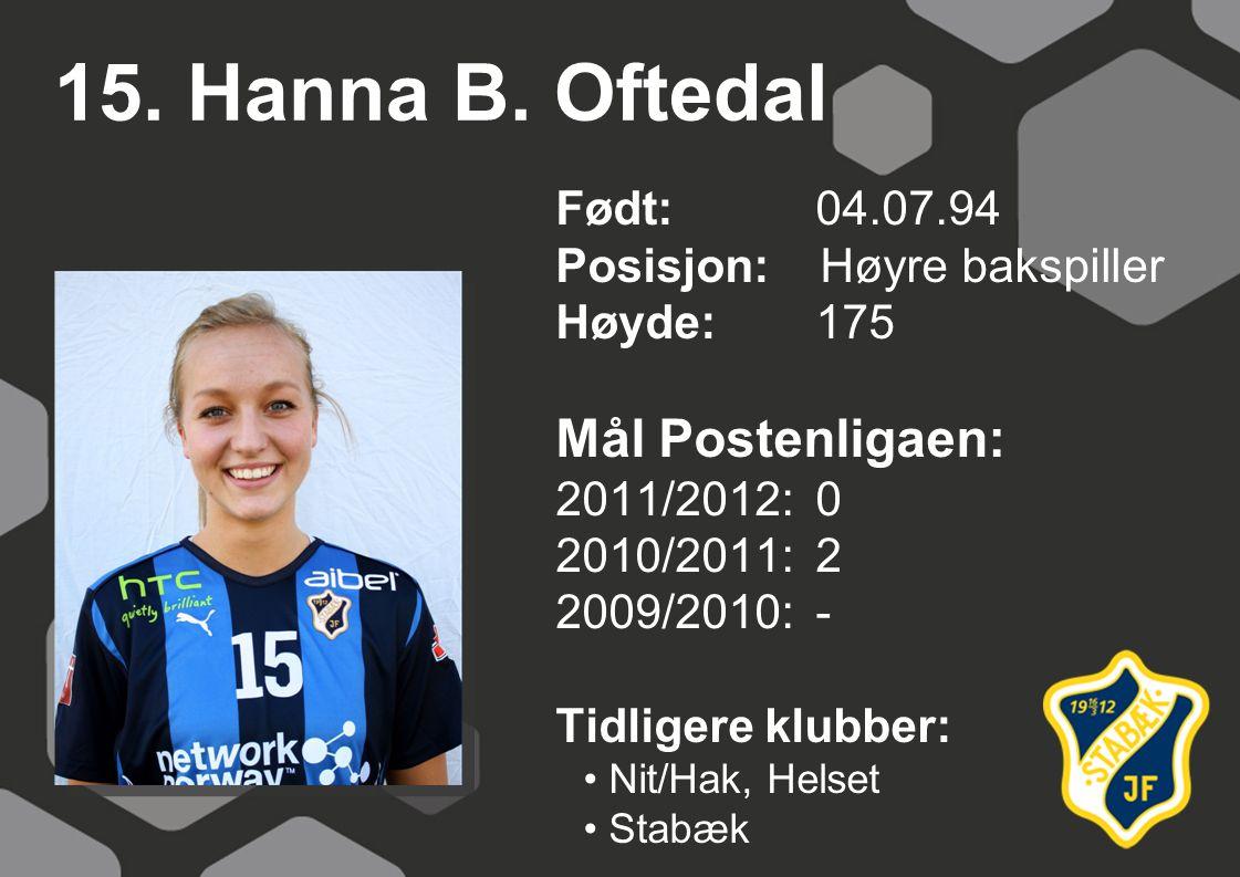 15. Hanna B. Oftedal Mål Postenligaen: Født: 04.07.94
