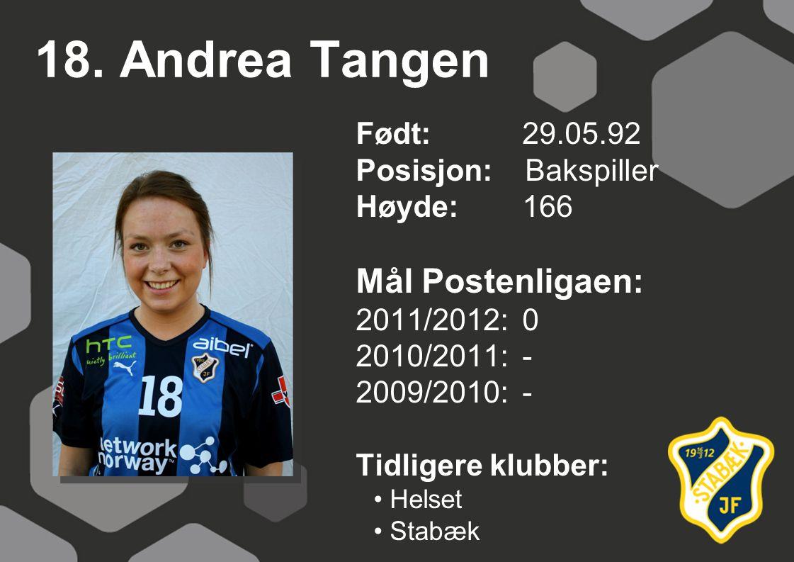 18. Andrea Tangen Mål Postenligaen: Født: 29.05.92