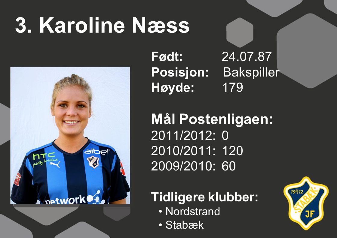 3. Karoline Næss Mål Postenligaen: Født: 24.07.87 Posisjon: Bakspiller