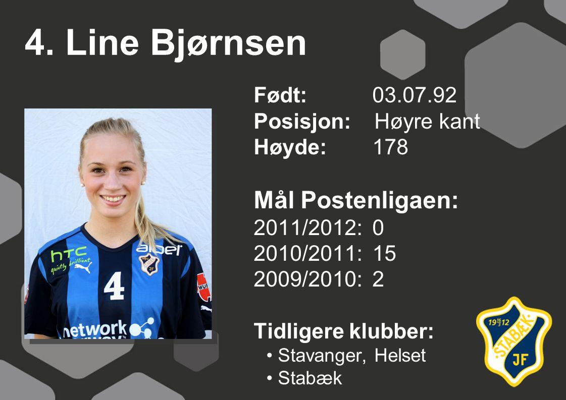 4. Line Bjørnsen Mål Postenligaen: Født: 03.07.92 Posisjon: Høyre kant
