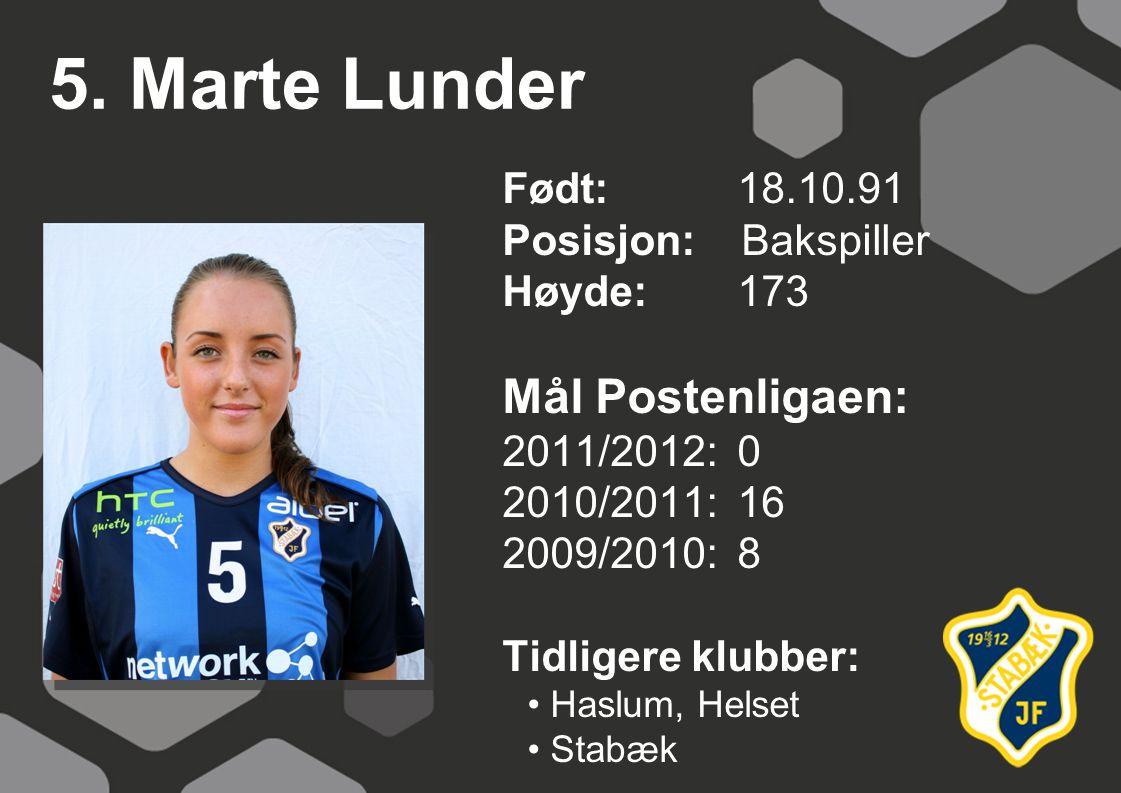 5. Marte Lunder Mål Postenligaen: Født: 18.10.91 Posisjon: Bakspiller