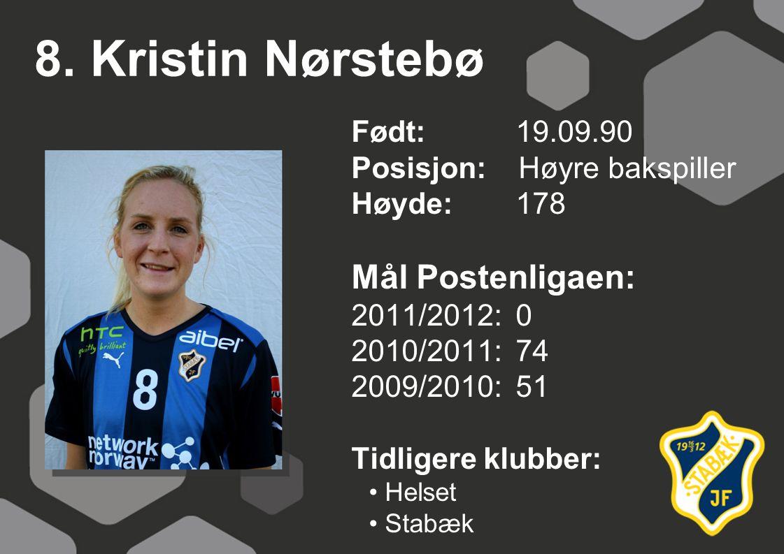8. Kristin Nørstebø Mål Postenligaen: Født: 19.09.90