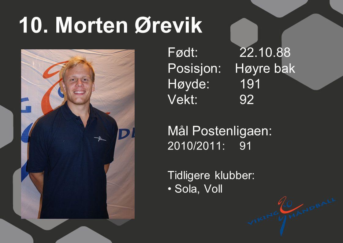 10. Morten Ørevik Født: 22.10.88 Posisjon: Høyre bak Høyde: 191