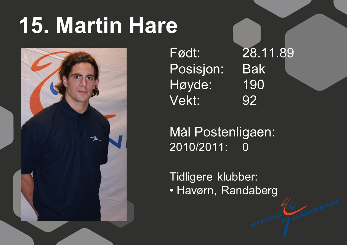 15. Martin Hare Født: 28.11.89 Posisjon: Bak Høyde: 190 Vekt: 92