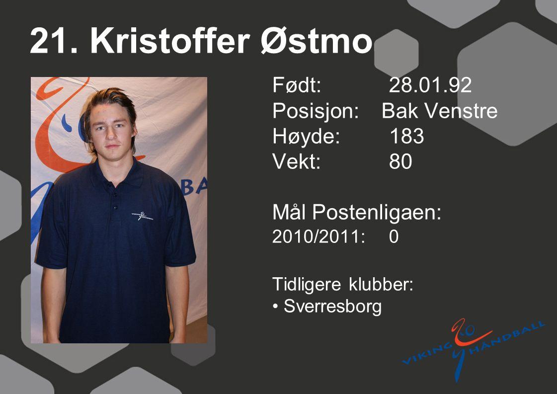21. Kristoffer Østmo Født: 28.01.92 Posisjon: Bak Venstre Høyde: 183