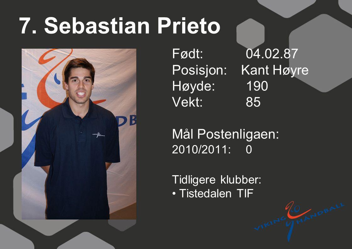 7. Sebastian Prieto Født: 04.02.87 Posisjon: Kant Høyre Høyde: 190