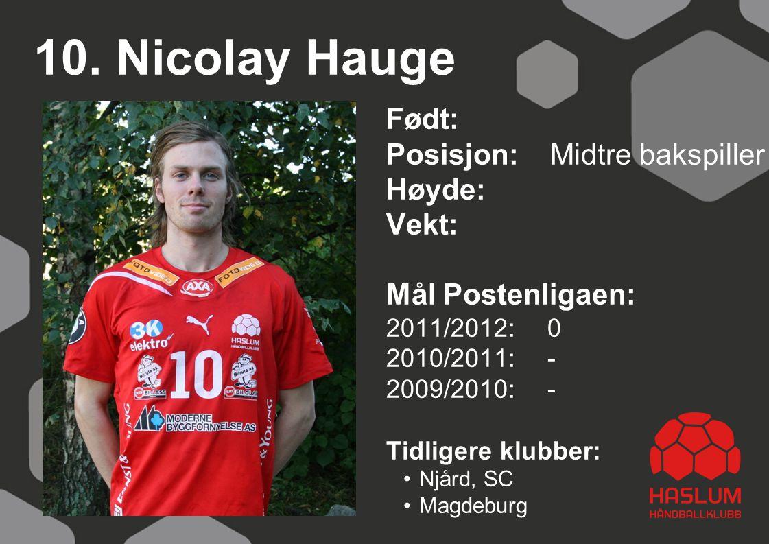 10. Nicolay Hauge Født: Posisjon: Midtre bakspiller Høyde: Vekt: