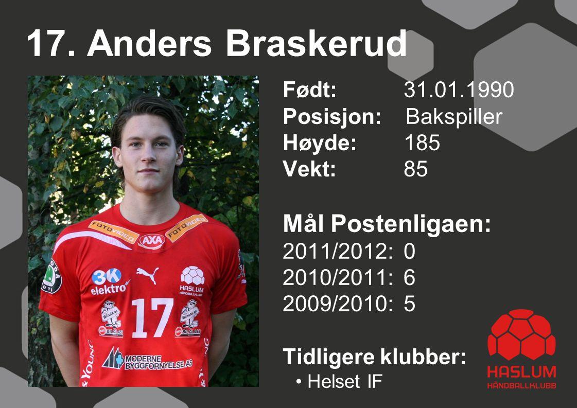 17. Anders Braskerud Mål Postenligaen: