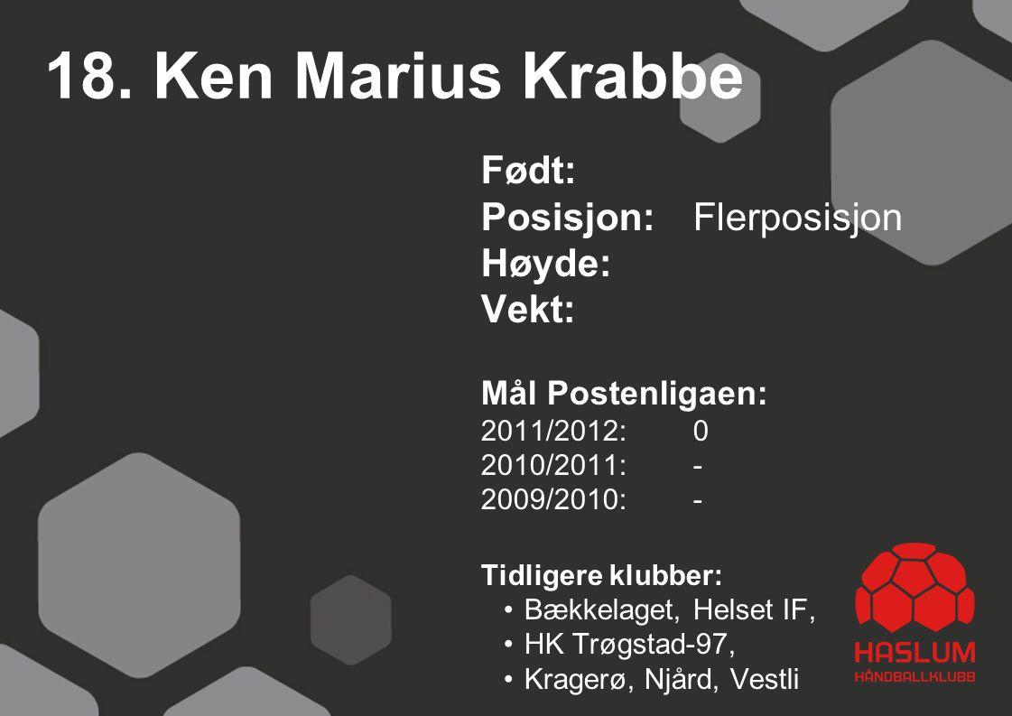 18. Ken Marius Krabbe Født: Posisjon: Flerposisjon Høyde: Vekt: