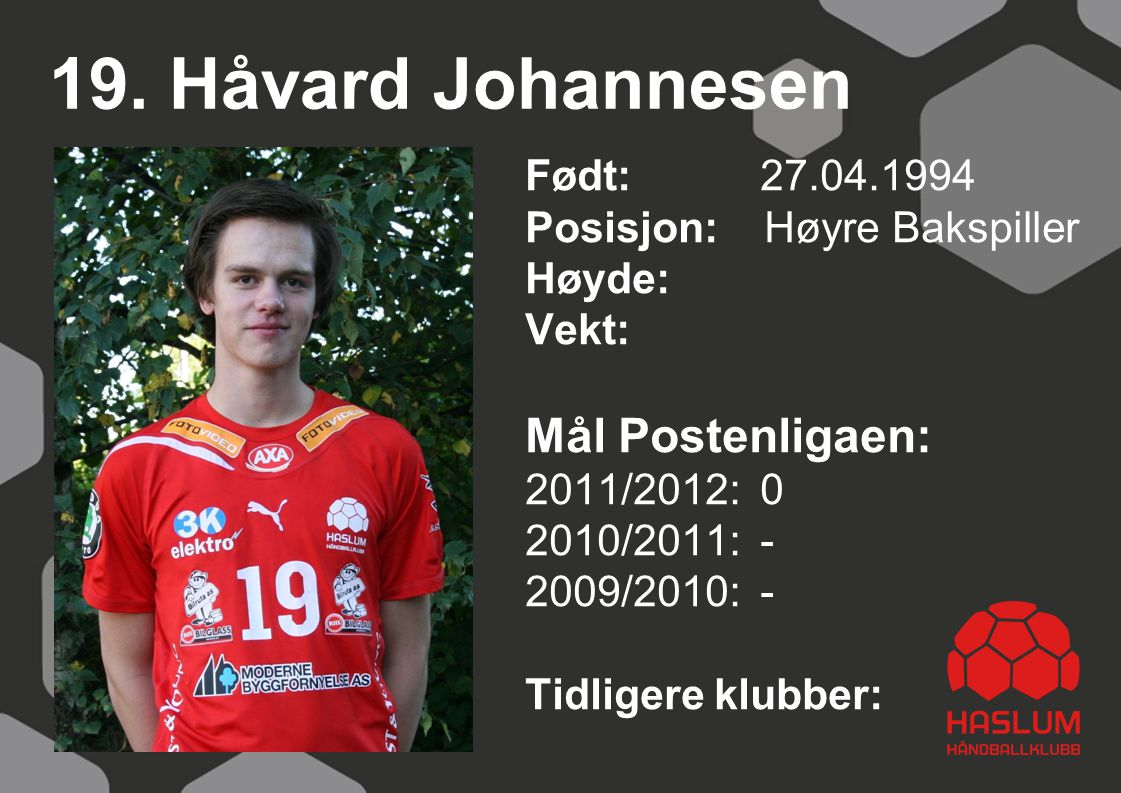 19. Håvard Johannesen Mål Postenligaen: Født: 27.04.1994