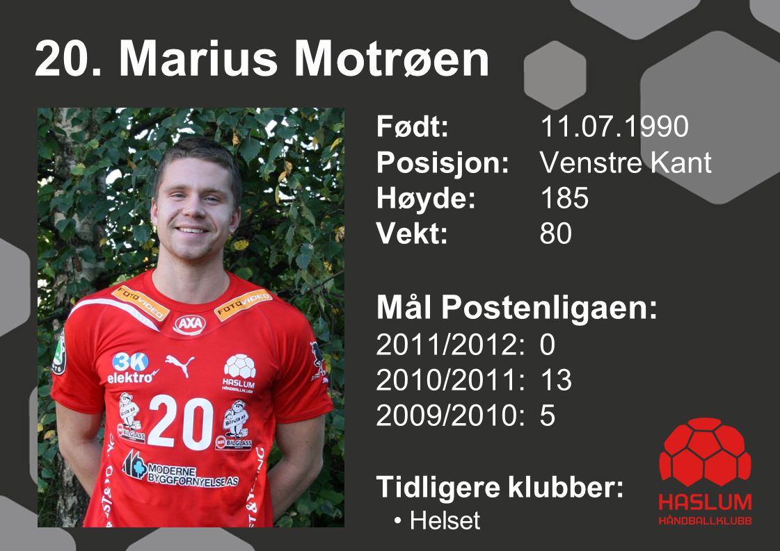 20. Marius Motrøen Mål Postenligaen: Født: 11.07.1990