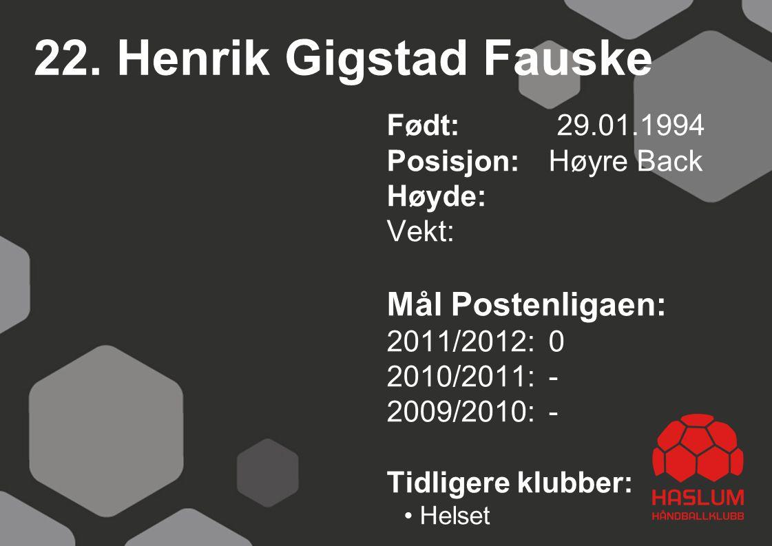 22. Henrik Gigstad Fauske Mål Postenligaen: Født: 29.01.1994