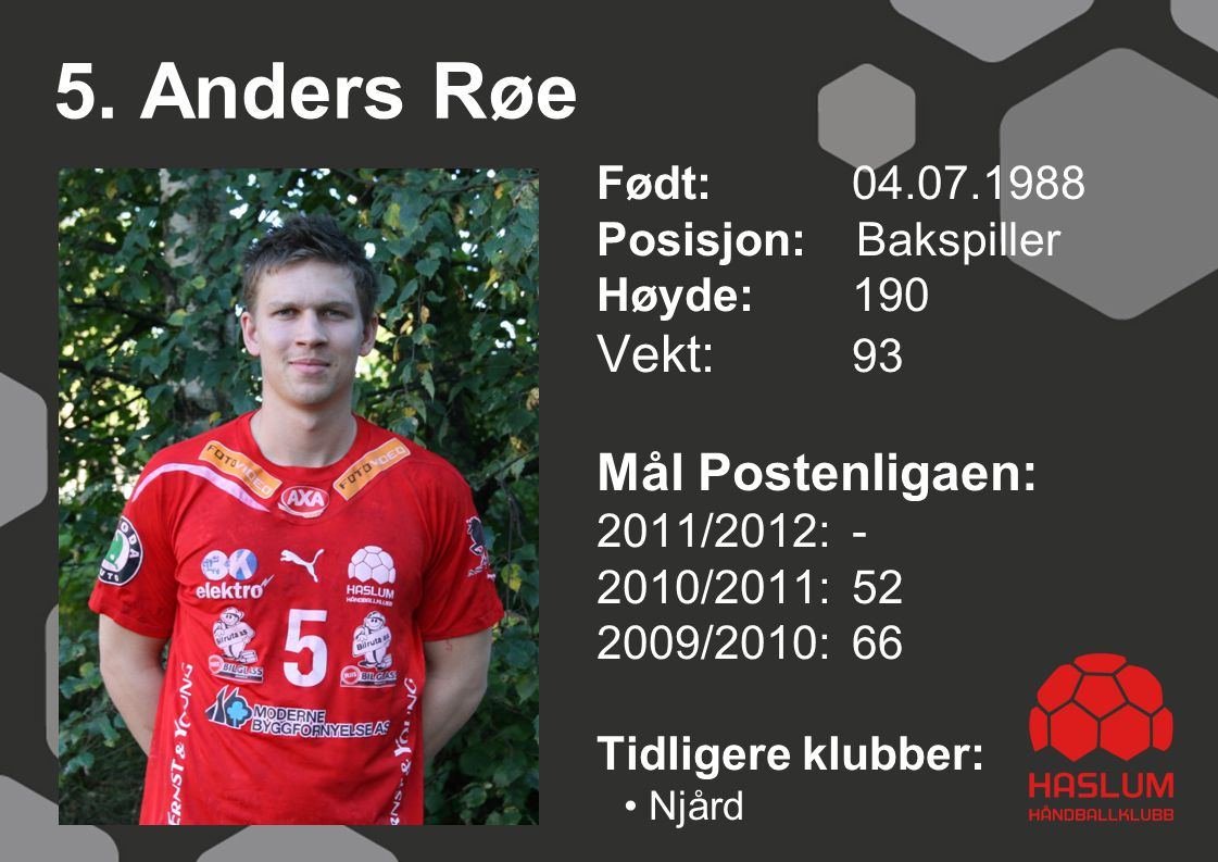 5. Anders Røe Vekt: 93 Mål Postenligaen: