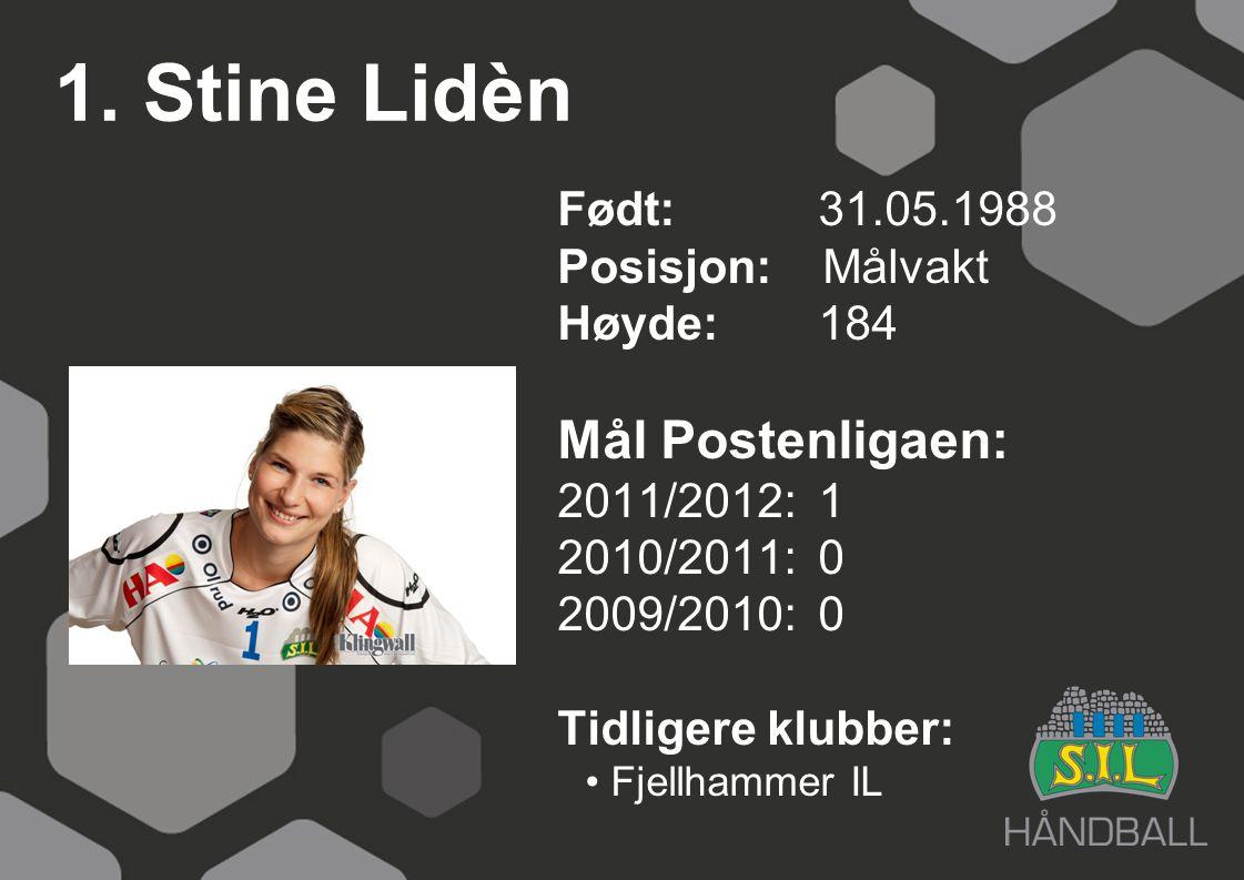 1. Stine Lidèn Mål Postenligaen: Født: 31.05.1988 Posisjon: Målvakt