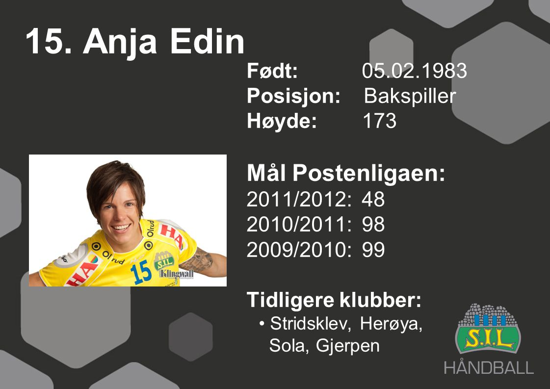 15. Anja Edin Mål Postenligaen: Født: 05.02.1983 Posisjon: Bakspiller