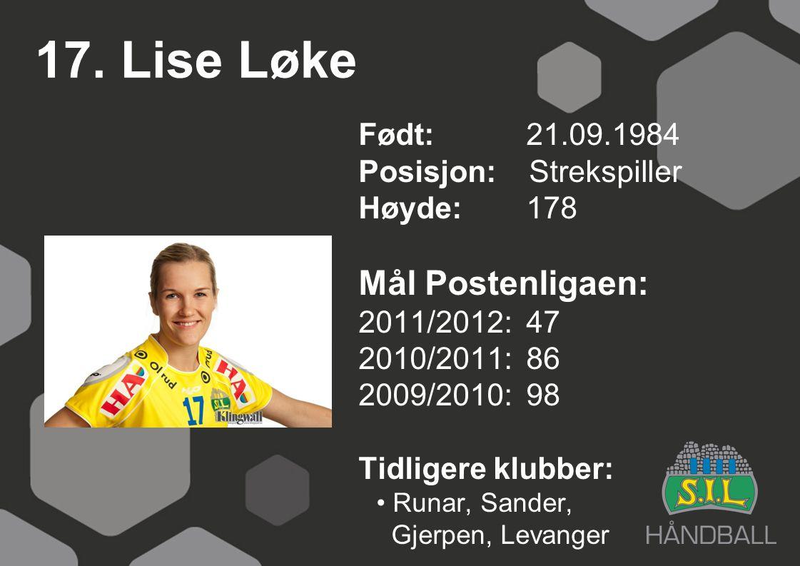17. Lise Løke Mål Postenligaen: