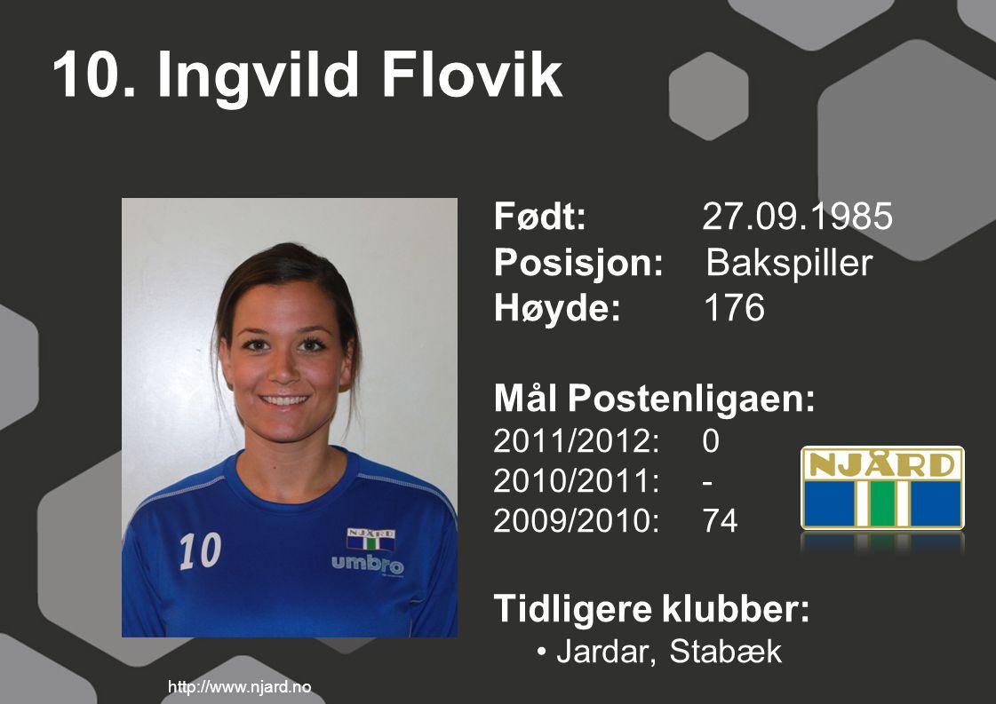 10. Ingvild Flovik Født: 27.09.1985 Posisjon: Bakspiller Høyde: 176