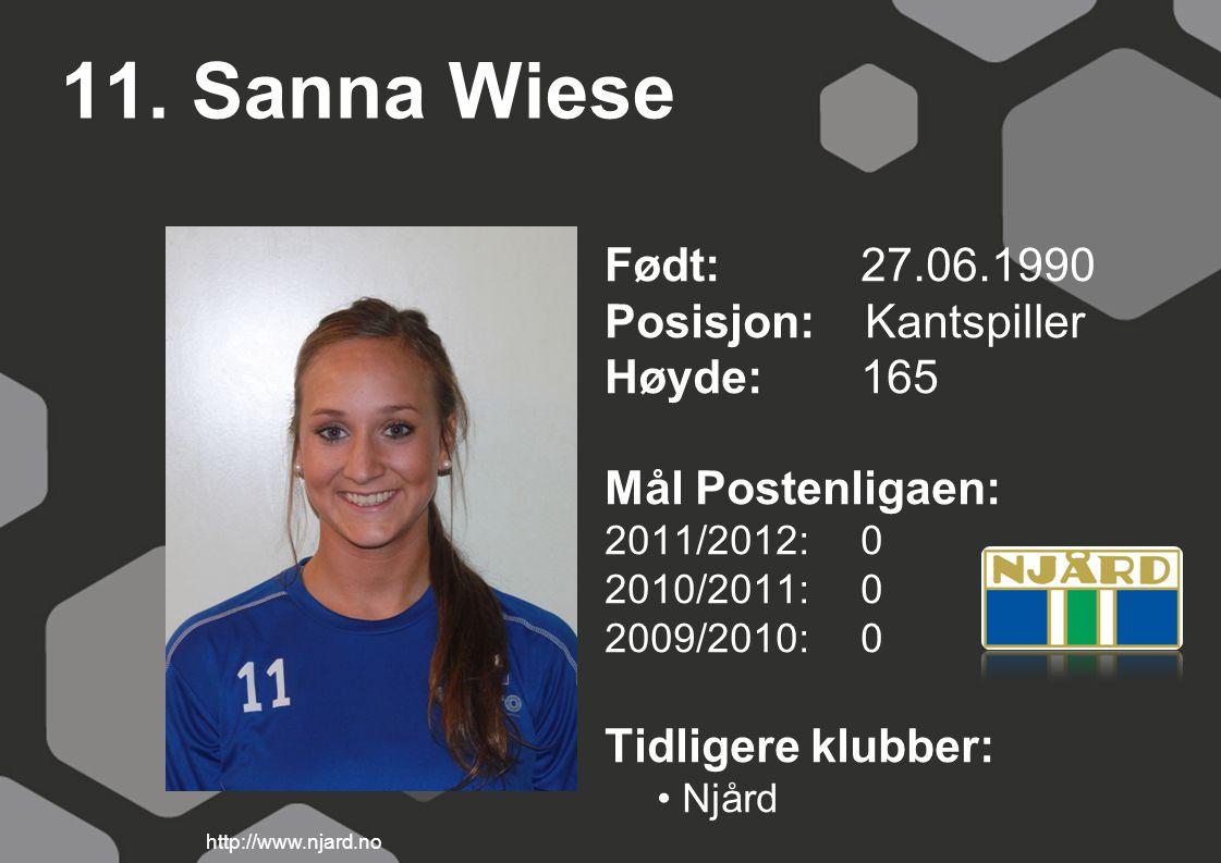 11. Sanna Wiese Født: 27.06.1990 Posisjon: Kantspiller Høyde: 165