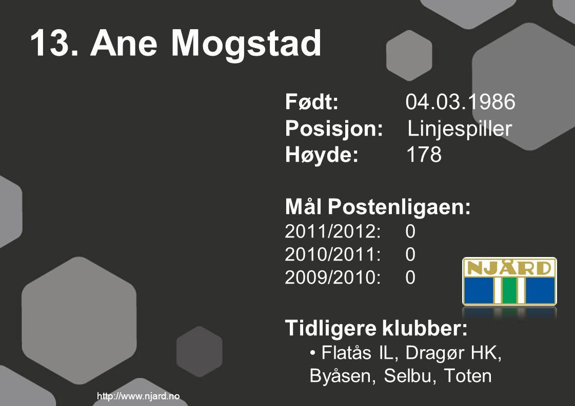 13. Ane Mogstad Født: 04.03.1986 Posisjon: Linjespiller Høyde: 178