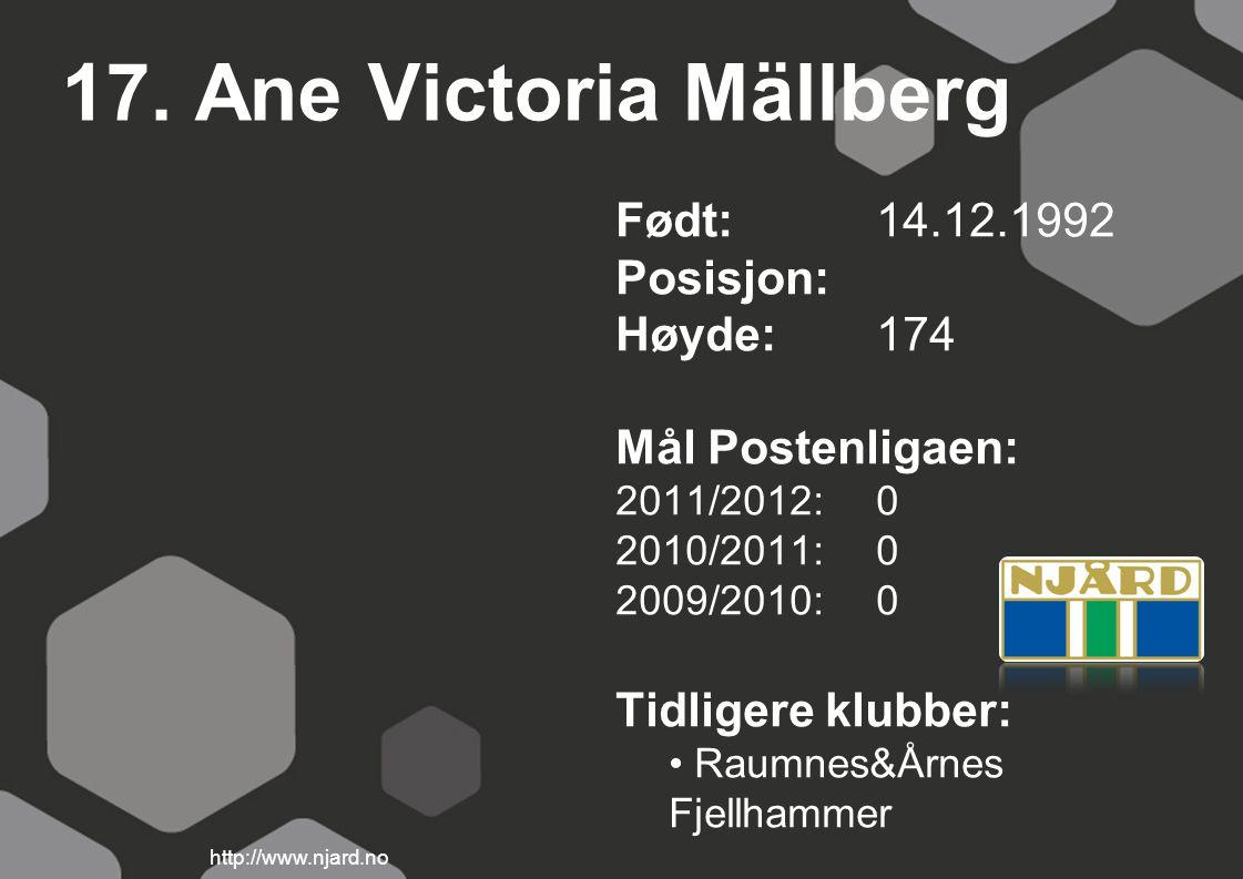 17. Ane Victoria Mällberg Født: 14.12.1992 Posisjon: Høyde: 174