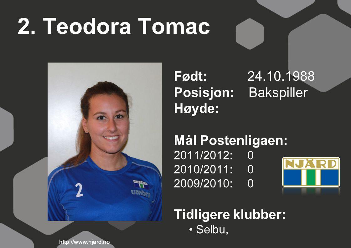 2. Teodora Tomac Født: 24.10.1988 Posisjon: Bakspiller Høyde:
