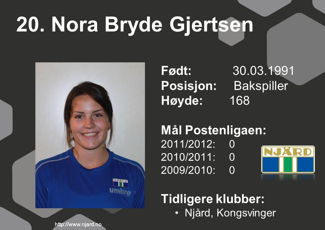 20. Nora Bryde Gjertsen Født: 30.03.1991 Posisjon: Bakspiller