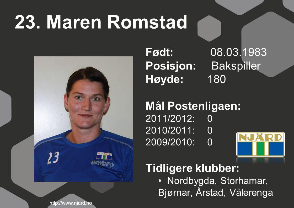 23. Maren Romstad Født: 08.03.1983 Posisjon: Bakspiller Høyde: 180